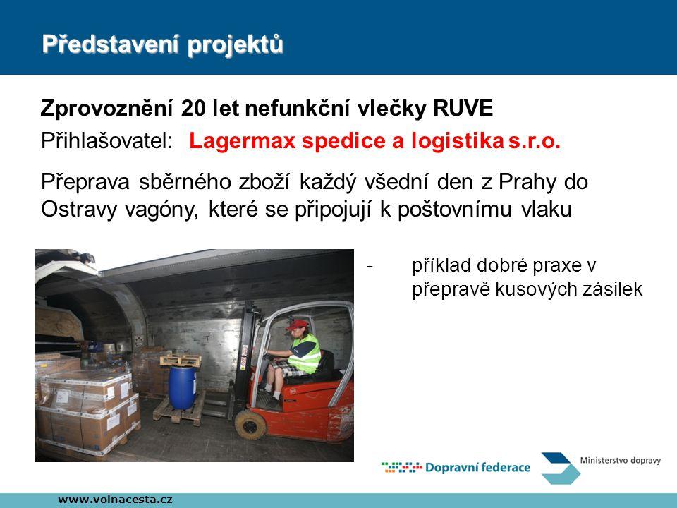 Představení projektů Zprovoznění 20 let nefunkční vlečky RUVE Přihlašovatel: Lagermax spedice a logistika s.r.o.