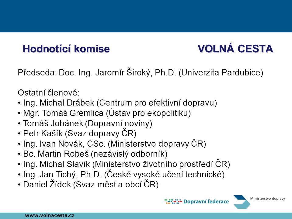 Hodnotící komiseVOLNÁ CESTA Předseda: Doc. Ing. Jaromír Široký, Ph.D.