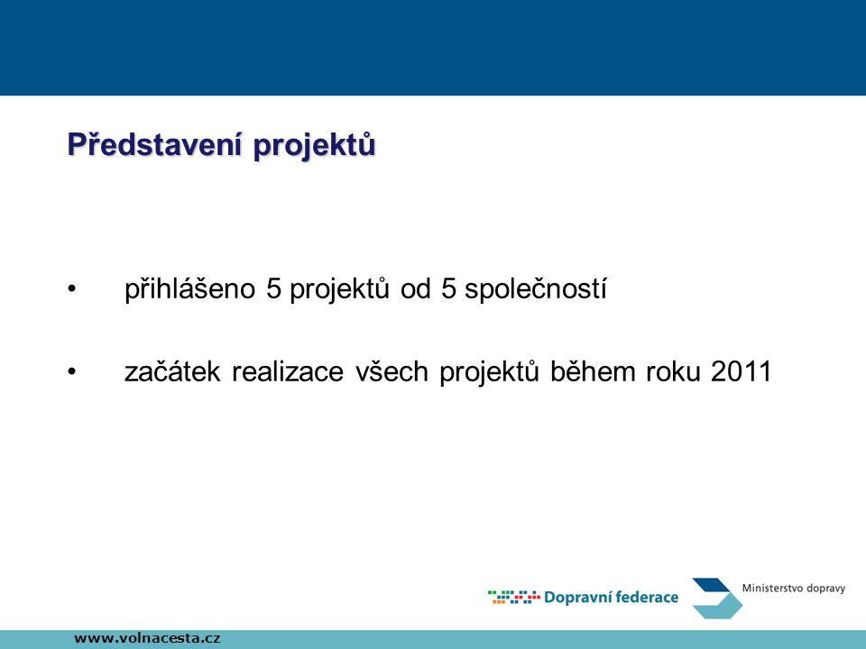 Představení projektů •přihlášeno 5 projektů od 5 společností •začátek realizace všech projektů během roku 2011 www.volnacesta.cz