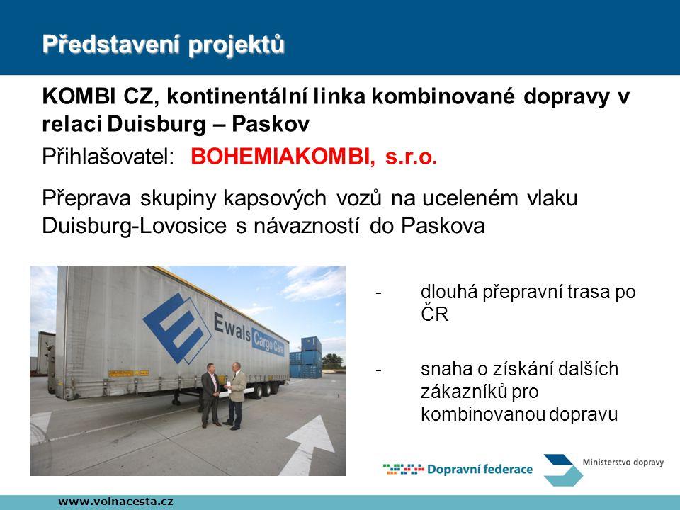 Představení projektů KOMBI CZ, kontinentální linka kombinované dopravy v relaci Duisburg – Paskov Přihlašovatel: BOHEMIAKOMBI, s.r.o. www.volnacesta.c