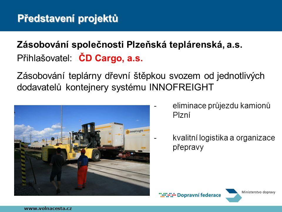 Představení projektů Zásobování společnosti Plzeňská teplárenská, a.s. Přihlašovatel: ČD Cargo, a.s. www.volnacesta.cz Zásobování teplárny dřevní štěp