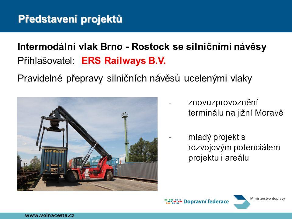 Představení projektů Intermodální vlak Brno - Rostock se silničními návěsy Přihlašovatel: ERS Railways B.V. www.volnacesta.cz Pravidelné přepravy siln