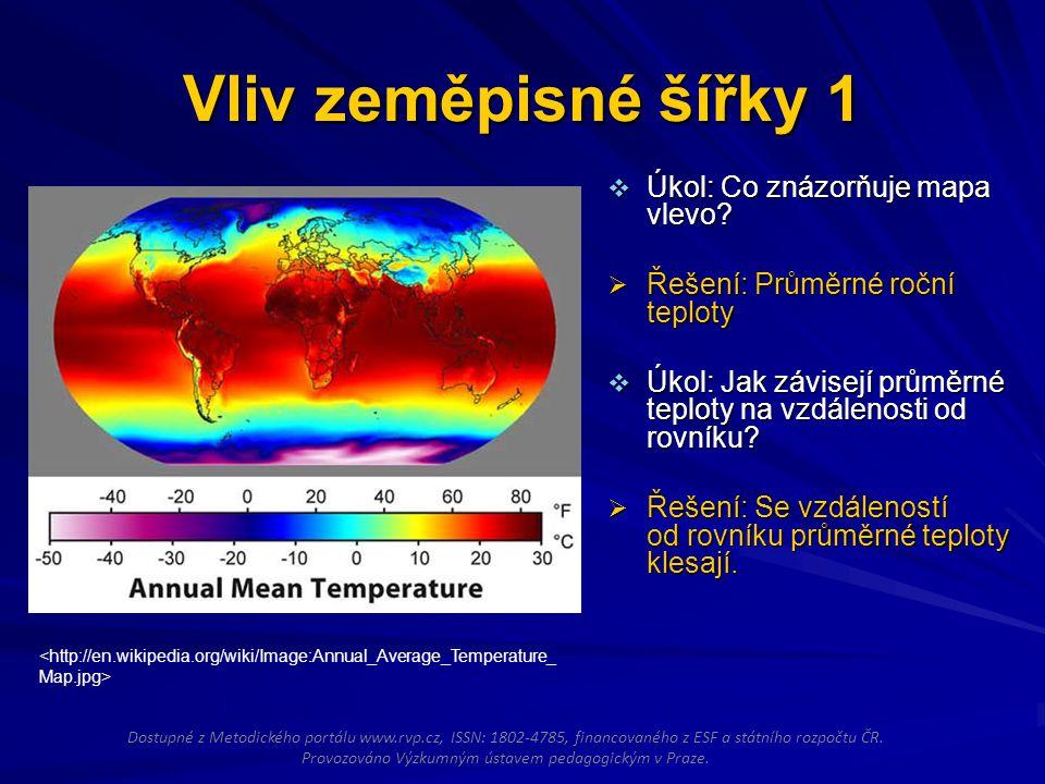 Vliv zeměpisné šířky 1  Úkol: Co znázorňuje mapa vlevo?  Řešení: Průměrné roční teploty  Úkol: Jak závisejí průměrné teploty na vzdálenosti od rovn