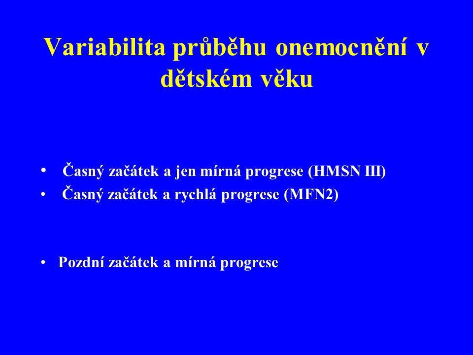 Variabilita průběhu onemocnění v dětském věku • Časný začátek a jen mírná progrese (HMSN III) • Časný začátek a rychlá progrese (MFN2) •Pozdní začátek a mírná progrese