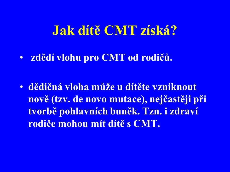 Jak dítě CMT získá.• zdědí vlohu pro CMT od rodičů.