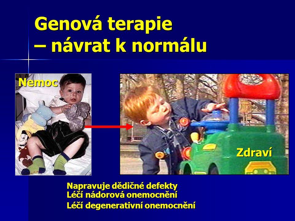 Genová terapie – návrat k normálu Napravuje dědičné defekty Léčí nádorová onemocnění Léčí degenerativní onemocnění Nemoc Zdraví