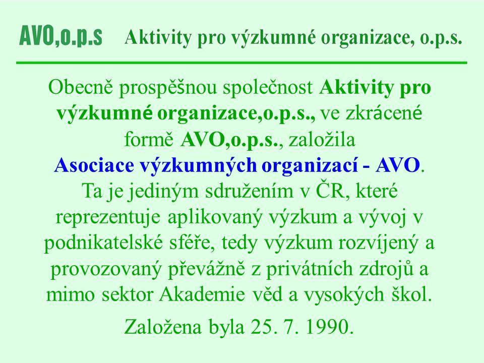 Obecně prospě š nou společnost Aktivity pro výzkumn é organizace,o.p.s., ve zkr á cen é formě AVO,o.p.s., založila Asociace výzkumných organizací - AV