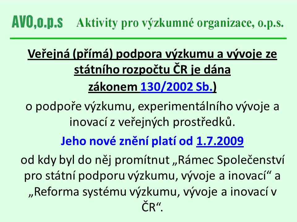 Veřejná (přímá) podpora výzkumu a vývoje ze státního rozpočtu ČR je dána zákonem 130/2002 Sb.) o podpoře výzkumu, experimentálního vývoje a inovací z