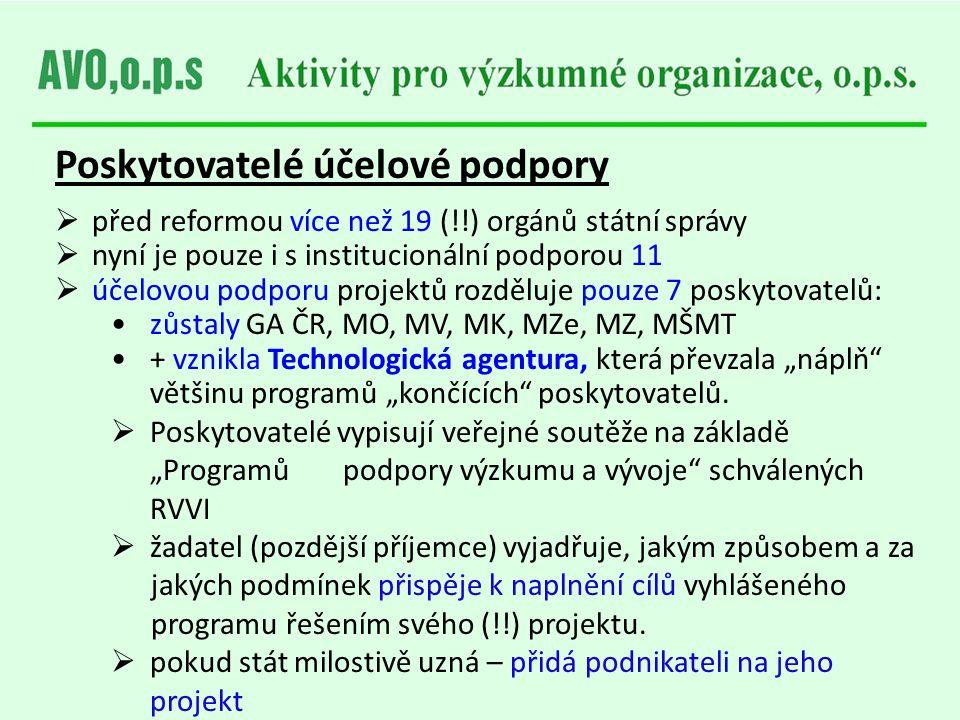 Poskytovatelé účelové podpory  před reformou více než 19 (!!) orgánů státní správy  nyní je pouze i s institucionální podporou 11  účelovou podporu