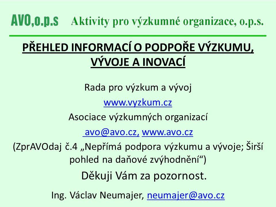 PŘEHLED INFORMACÍ O PODPOŘE VÝZKUMU, VÝVOJE A INOVACÍ Rada pro výzkum a vývoj www.vyzkum.cz Asociace výzkumných organizací avo@avo.cz, www.avo.czavo@a
