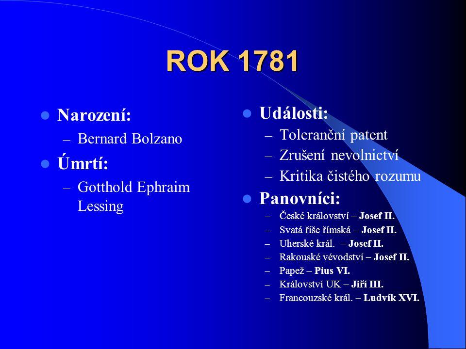 ROK 1781  Narození: – Bernard Bolzano  Úmrtí: – Gotthold Ephraim Lessing  Události: – Toleranční patent – Zrušení nevolnictví – Kritika čistého roz
