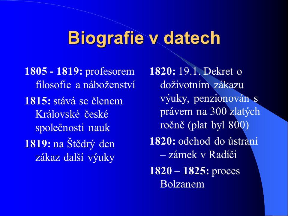 Biografie v datech 1805 - 1819: profesorem filosofie a náboženství 1815: stává se členem Královské české společnosti nauk 1819: na Štědrý den zákaz da