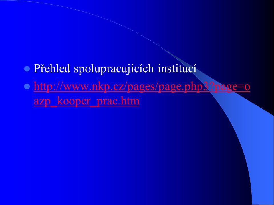 Přehled spolupracujících institucí  http://www.nkp.cz/pages/page.php3 page=o azp_kooper_prac.htm http://www.nkp.cz/pages/page.php3 page=o azp_kooper_prac.htm
