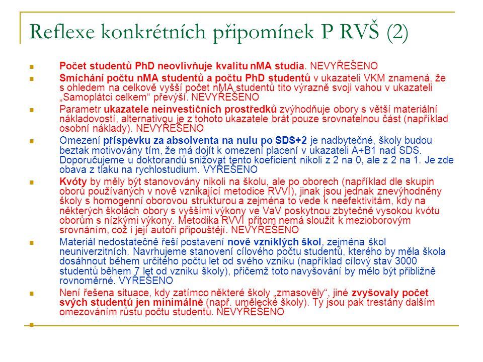 Reflexe konkrétních připomínek P RVŠ (2)  Počet studentů PhD neovlivňuje kvalitu nMA studia.