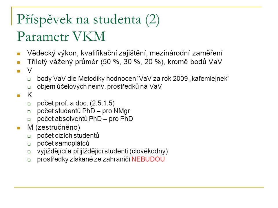 Příspěvek na studenta (3) Navrhované změny  PhD  omezení kvóty nově zapsaných na 80 % (čeho?) a dalších 20 % kvóty rozdělit dle VKM (se stropem)  NMgr  omezení kvóty nově zapsaných na 90 % (čeho?) a dalších 10 % kvóty rozdělit dle VKM (se stropem)  Bc a 5Mgr  omezení kvóty nově zapsaných na 95 % minulého roku s tím, že školy postižené omezením PhD a NMgr mohou toto využít pro zvýšení kvóty v Bc a 5Mgr  u neuniverzitních VVŠ kvóta 100 % průměru minulých let