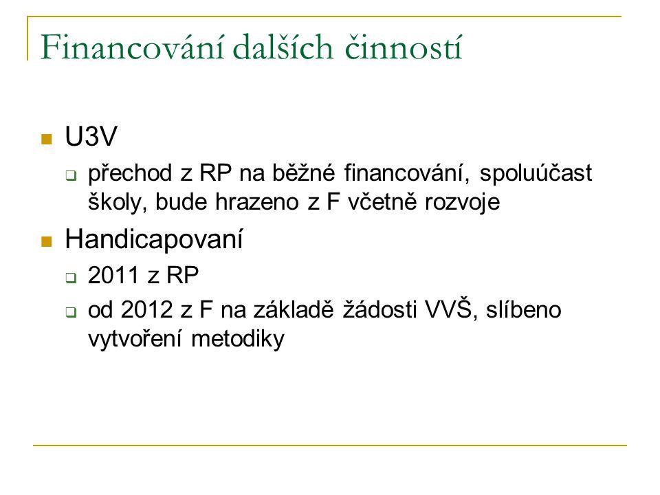Financování dalších činností  U3V  přechod z RP na běžné financování, spoluúčast školy, bude hrazeno z F včetně rozvoje  Handicapovaní  2011 z RP  od 2012 z F na základě žádosti VVŠ, slíbeno vytvoření metodiky