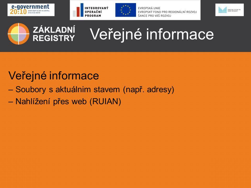 Veřejné informace – Soubory s aktuálnim stavem (např. adresy) – Nahlížení přes web (RUIAN)