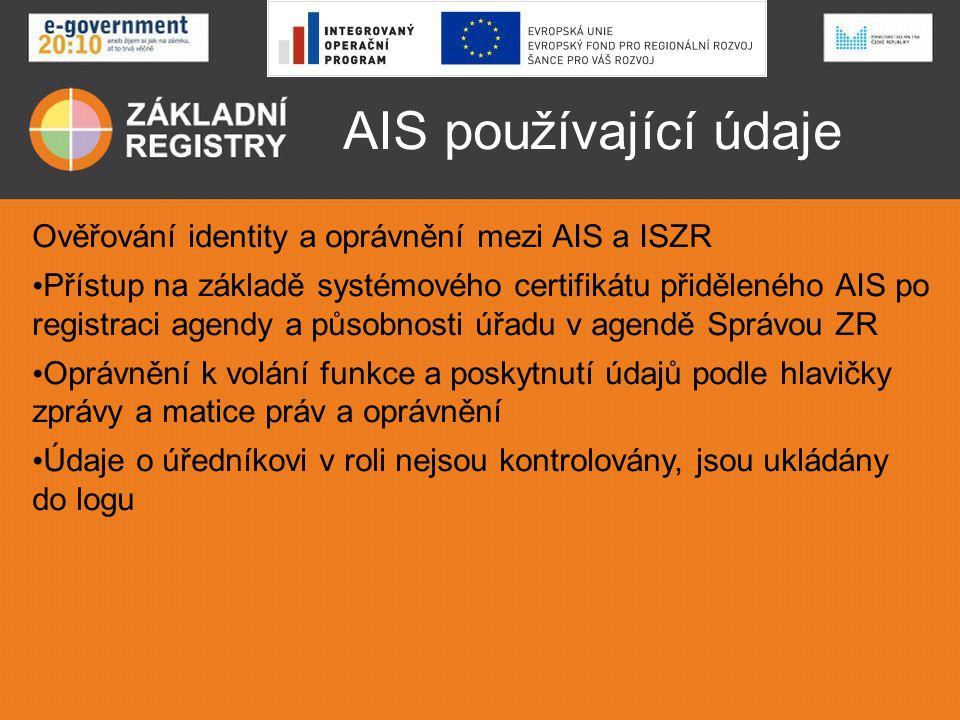 AIS používající údaje Ověřování identity a oprávnění mezi AIS a ISZR • Přístup na základě systémového certifikátu přiděleného AIS po registraci agendy