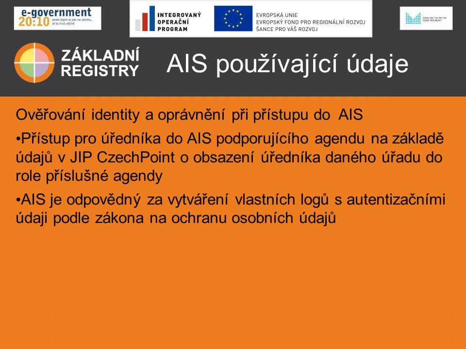 AIS používající údaje Ověřování identity a oprávnění při přístupu do AIS • Přístup pro úředníka do AIS podporujícího agendu na základě údajů v JIP Cze