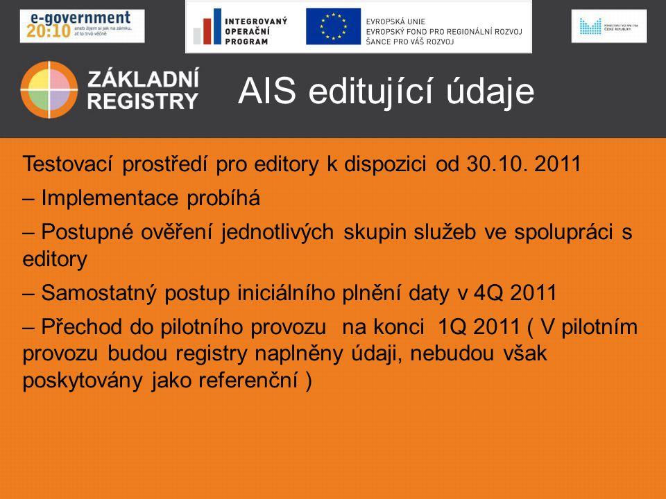 AIS editující údaje Testovací prostředí pro editory k dispozici od 30.10. 2011 – Implementace probíhá – Postupné ověření jednotlivých skupin služeb ve
