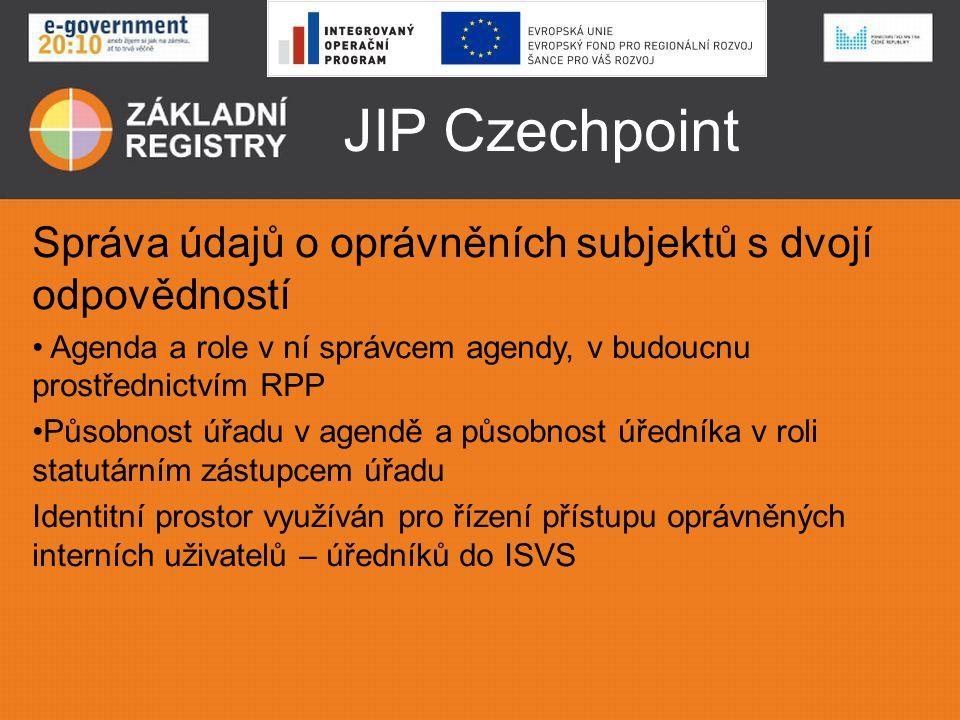 JIP Czechpoint Správa údajů o oprávněních subjektů s dvojí odpovědností • Agenda a role v ní správcem agendy, v budoucnu prostřednictvím RPP •Působnos