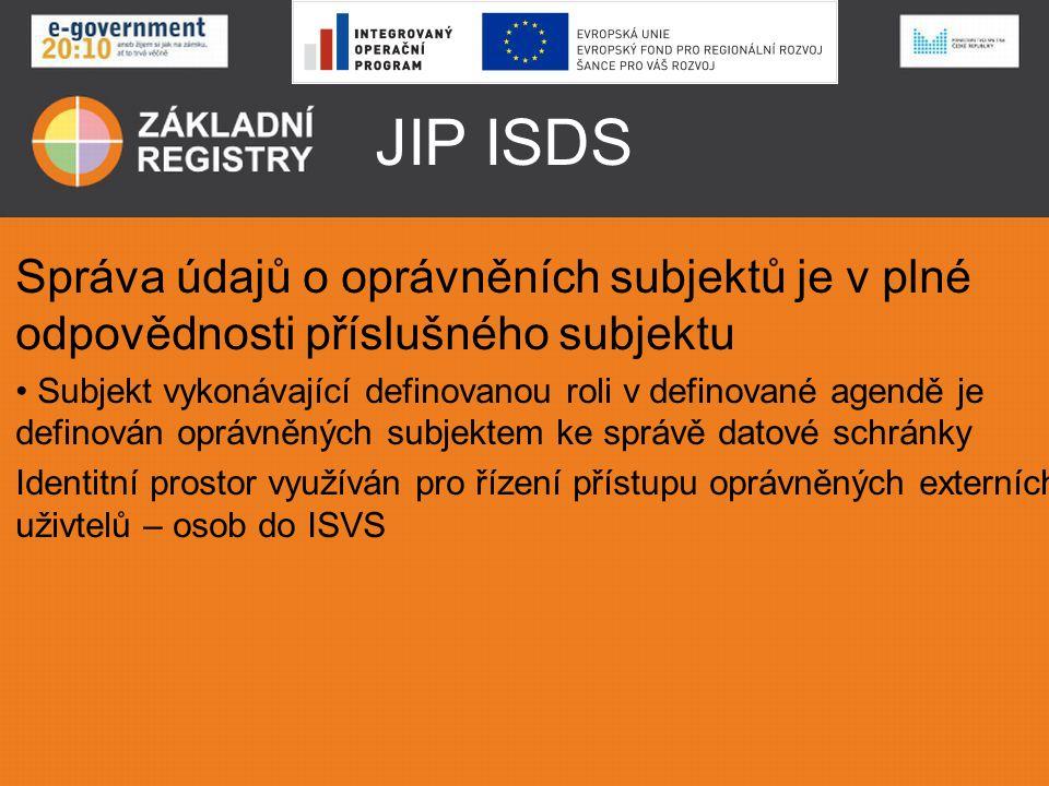 JIP ISDS Správa údajů o oprávněních subjektů je v plné odpovědnosti příslušného subjektu • Subjekt vykonávající definovanou roli v definované agendě j