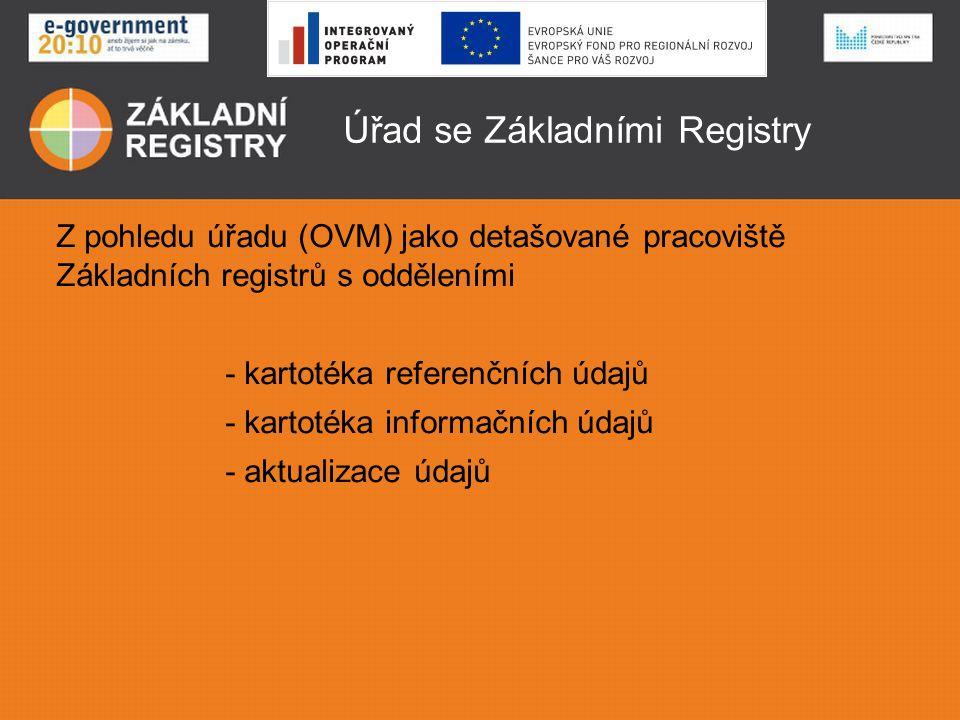 Úřad se Základními Registry Referenční (právně závazné a aktuální) údaje Karty o fyzických osobách o právnických osobách o územních prvcích o orgánech veřejné moci a jejich rozhodnutích které udržuje aktuální celá veřejná správa prostřednictvím přesně určených editorů