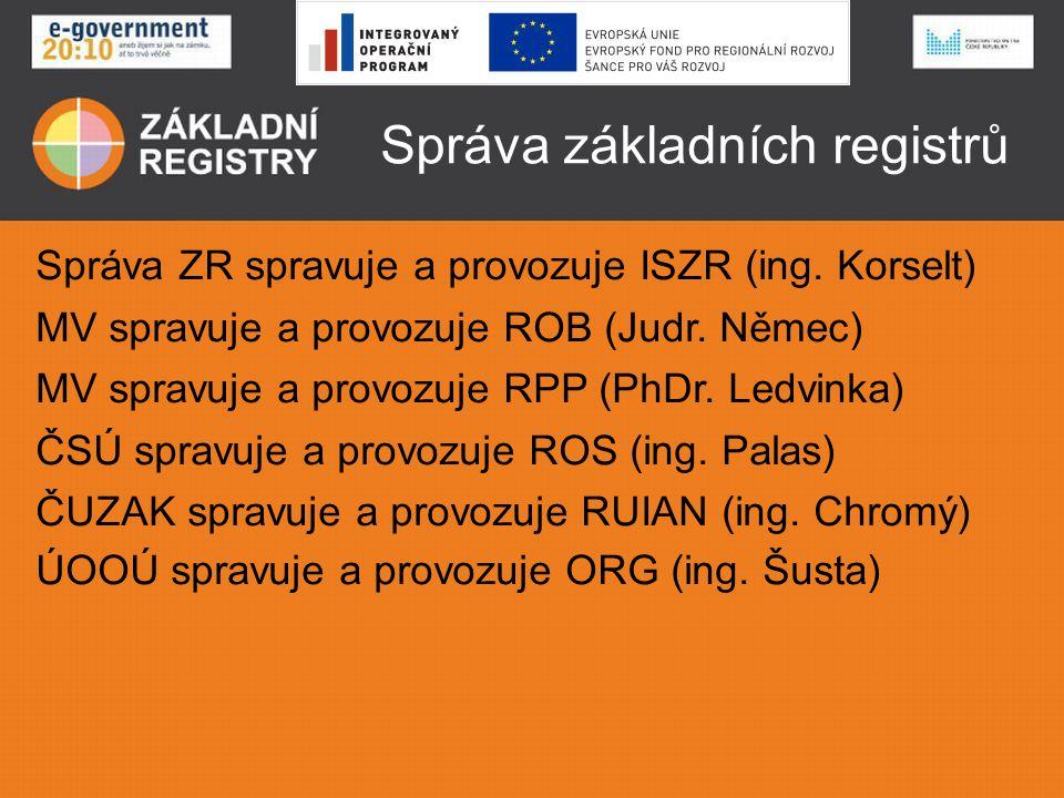 Správa základních registrů Správa ZR spravuje a provozuje ISZR (ing. Korselt) MV spravuje a provozuje ROB (Judr. Němec) MV spravuje a provozuje RPP (P