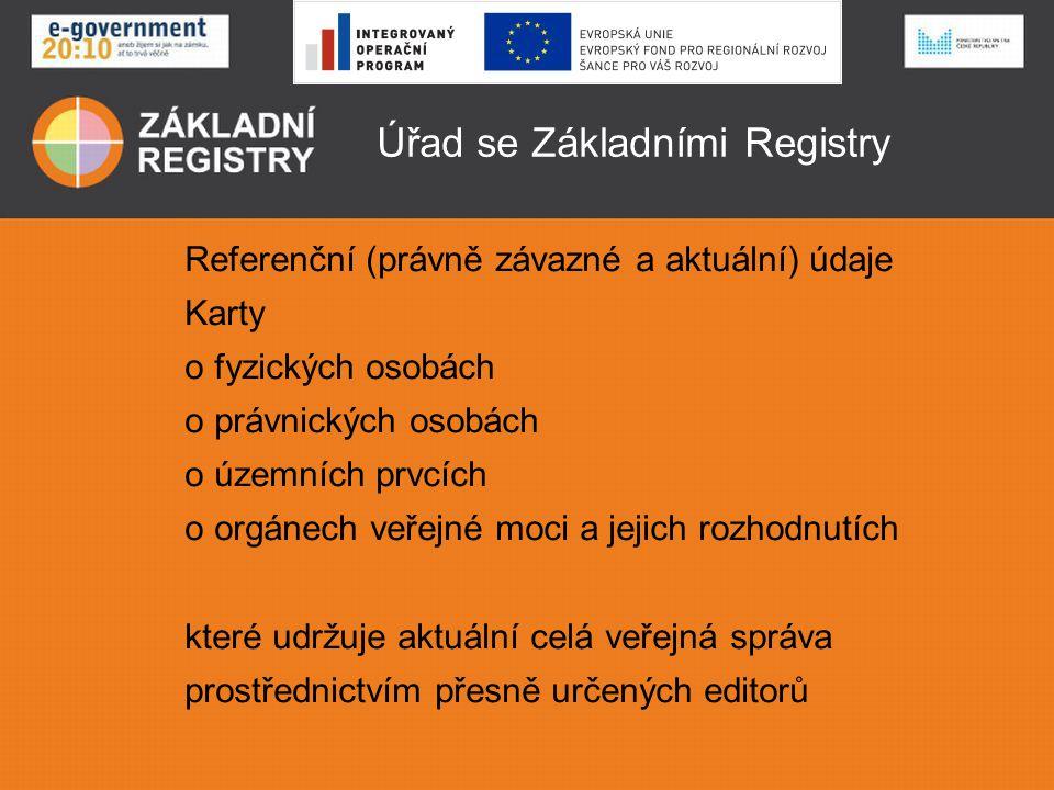 Úřad se Základními Registry Přístup k referenčním údajům prostřednictvím CzechPointů - formulář žádosti, formulář odpovědi prostřednictvím Datových schránek - formulář žádosti, formulář odpovědi prostřednictvím registrovaných Agendových Informačních Systémů (AIS) - vnější rozhraní které jsou propojeny se Základními Registry