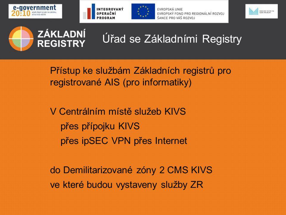 AIS používající údaje Ověřování identity a oprávnění mezi AIS a ISZR • Přístup na základě systémového certifikátu přiděleného AIS po registraci agendy a působnosti úřadu v agendě Správou ZR • Oprávnění k volání funkce a poskytnutí údajů podle hlavičky zprávy a matice práv a oprávnění • Údaje o úředníkovi v roli nejsou kontrolovány, jsou ukládány do logu