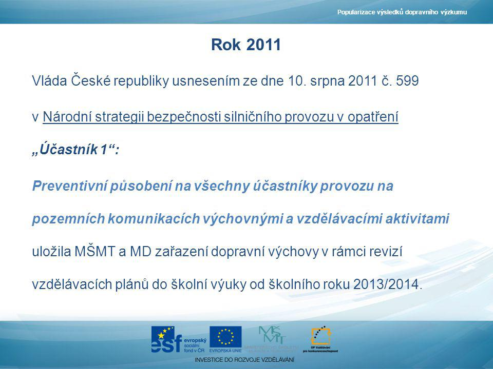 Rok 2013/2014 Dopravní výchova zařazena do ŠVP pro základní školy.