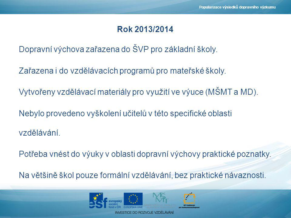 Rok 2013/2014 Dopravní výchova zařazena do ŠVP pro základní školy. Zařazena i do vzdělávacích programů pro mateřské školy. Vytvořeny vzdělávací materi