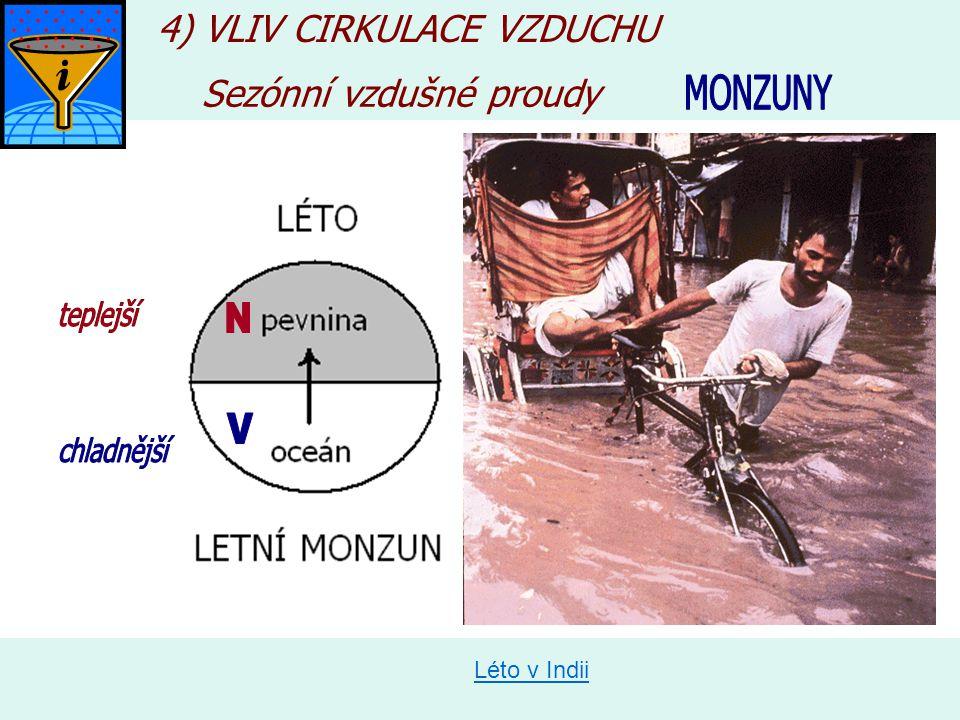 Léto v Indii Sezónní vzdušné proudy 4) VLIV CIRKULACE VZDUCHU