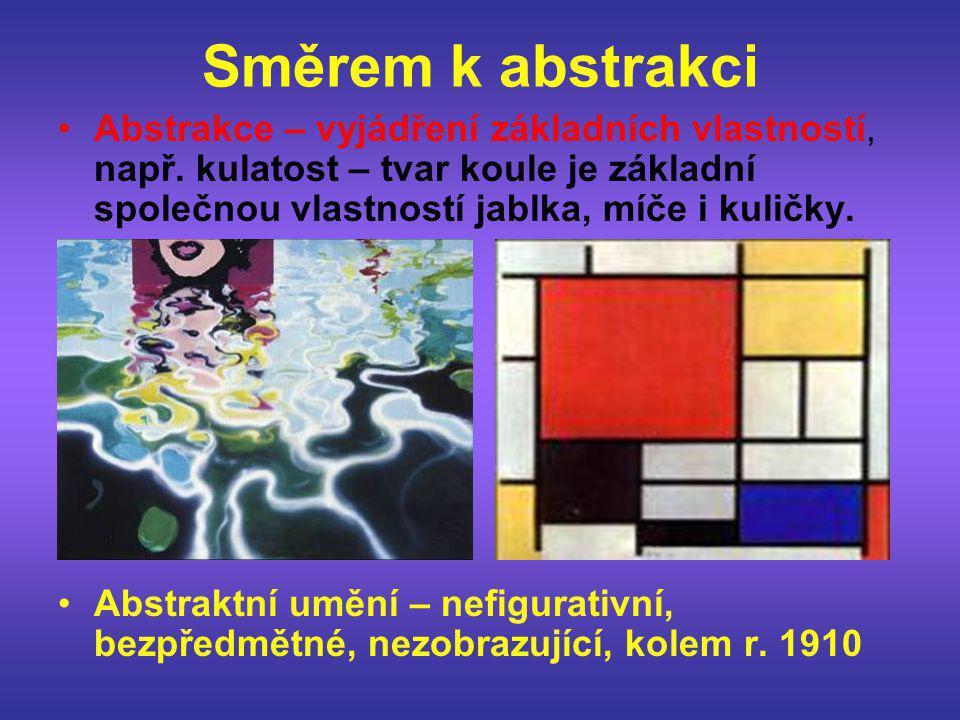 Směrem k abstrakci •Abstrakce – vyjádření základních vlastností, např. kulatost – tvar koule je základní společnou vlastností jablka, míče i kuličky.
