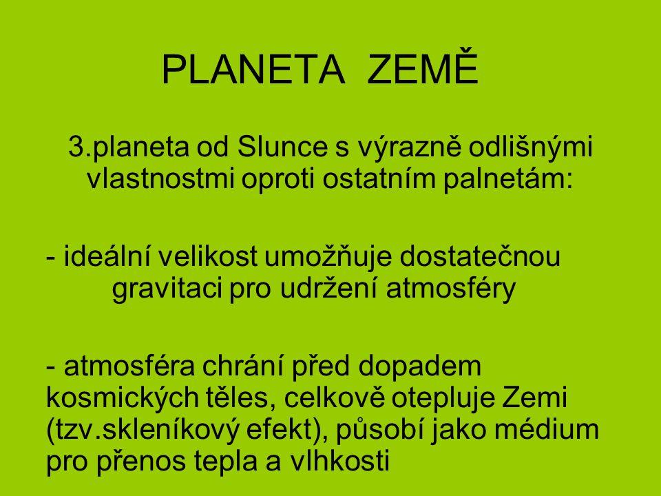 PLANETA ZEMĚ 3.planeta od Slunce s výrazně odlišnými vlastnostmi oproti ostatním palnetám: - ideální velikost umožňuje dostatečnou gravitaci pro udrže