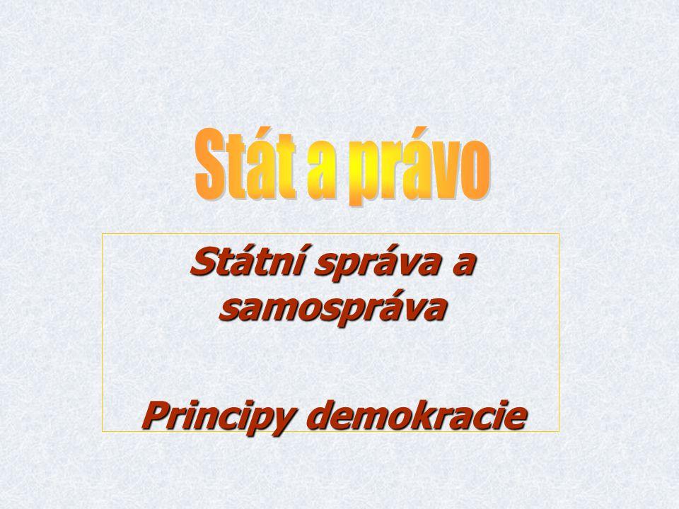 Státní správa a samospráva Principy demokracie