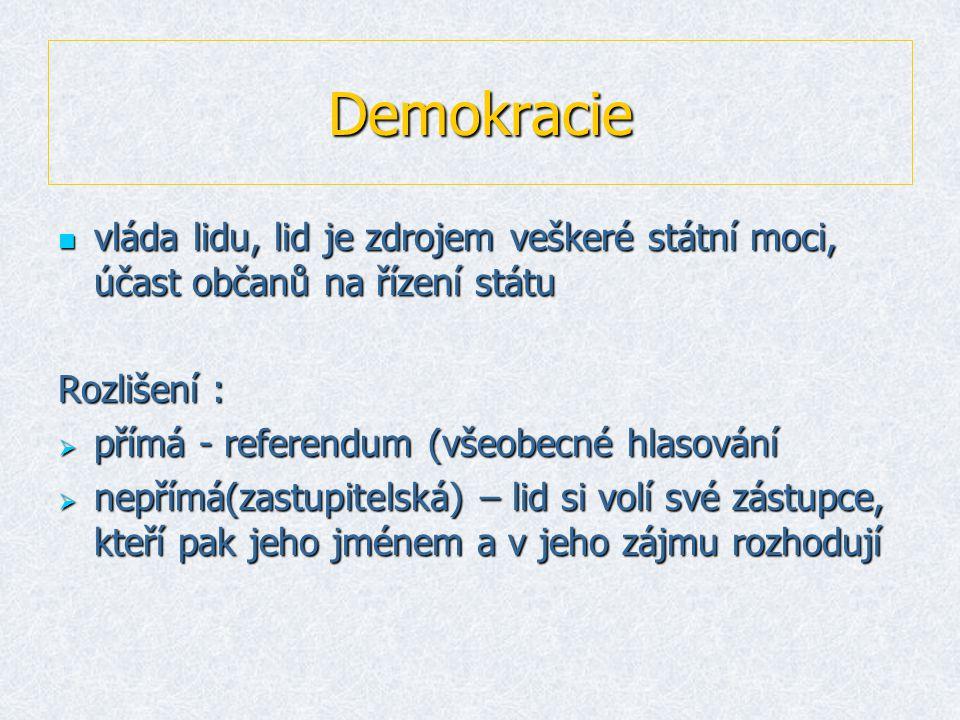 Demokracie  vláda lidu, lid je zdrojem veškeré státní moci, účast občanů na řízení státu Rozlišení :  přímá - referendum (všeobecné hlasování  nepřímá(zastupitelská) – lid si volí své zástupce, kteří pak jeho jménem a v jeho zájmu rozhodují
