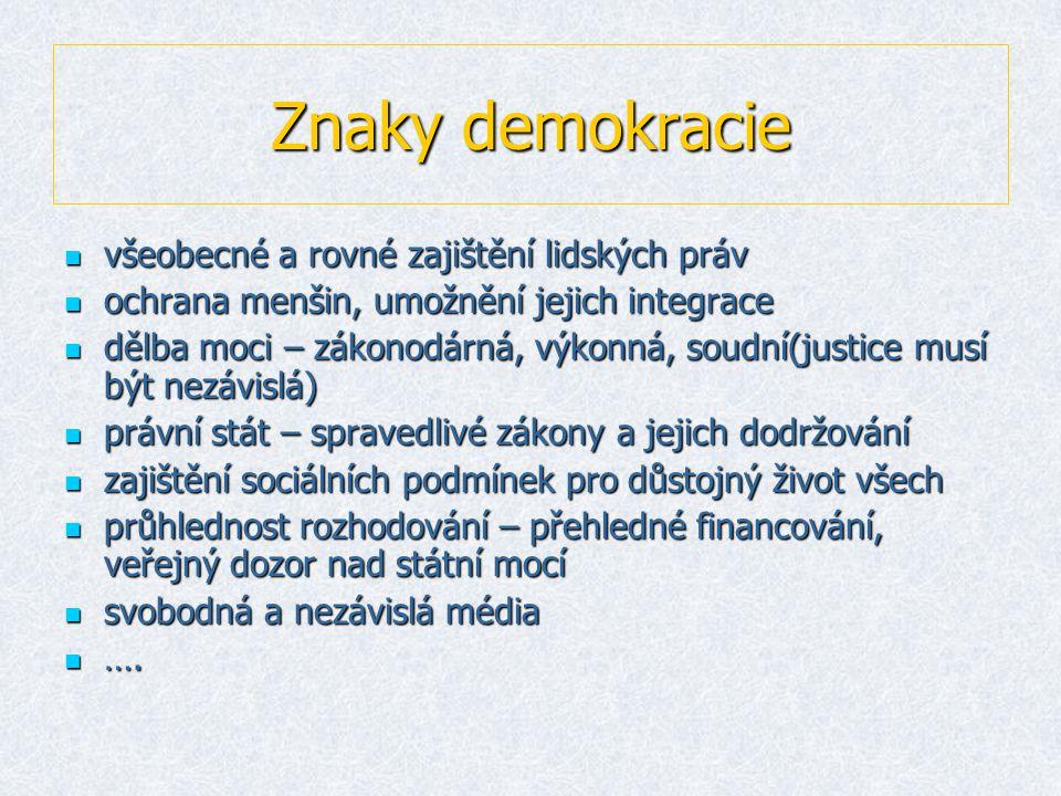 Znaky demokracie vvvvšeobecné a rovné zajištění lidských práv oooochrana menšin, umožnění jejich integrace ddddělba moci – zákonodárná, výkonná, soudní(justice musí být nezávislá) pppprávní stát – spravedlivé zákony a jejich dodržování zzzzajištění sociálních podmínek pro důstojný život všech pppprůhlednost rozhodování – přehledné financování, veřejný dozor nad státní mocí ssssvobodná a nezávislá média ………….