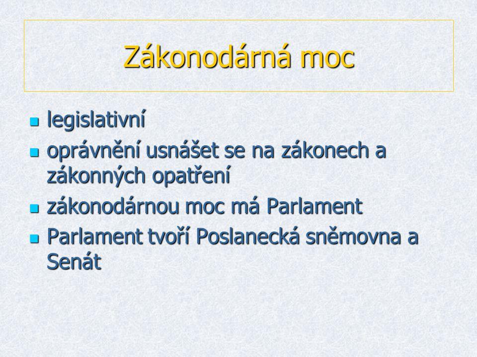 Zákonodárná moc llllegislativní ooooprávnění usnášet se na zákonech a zákonných opatření zzzzákonodárnou moc má Parlament PPPParlament tvoří Poslanecká sněmovna a Senát