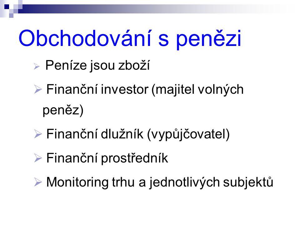 Obchodování s penězi  Peníze jsou zboží  Finanční investor (majitel volných peněz)  Finanční dlužník (vypůjčovatel)  Finanční prostředník  Monito
