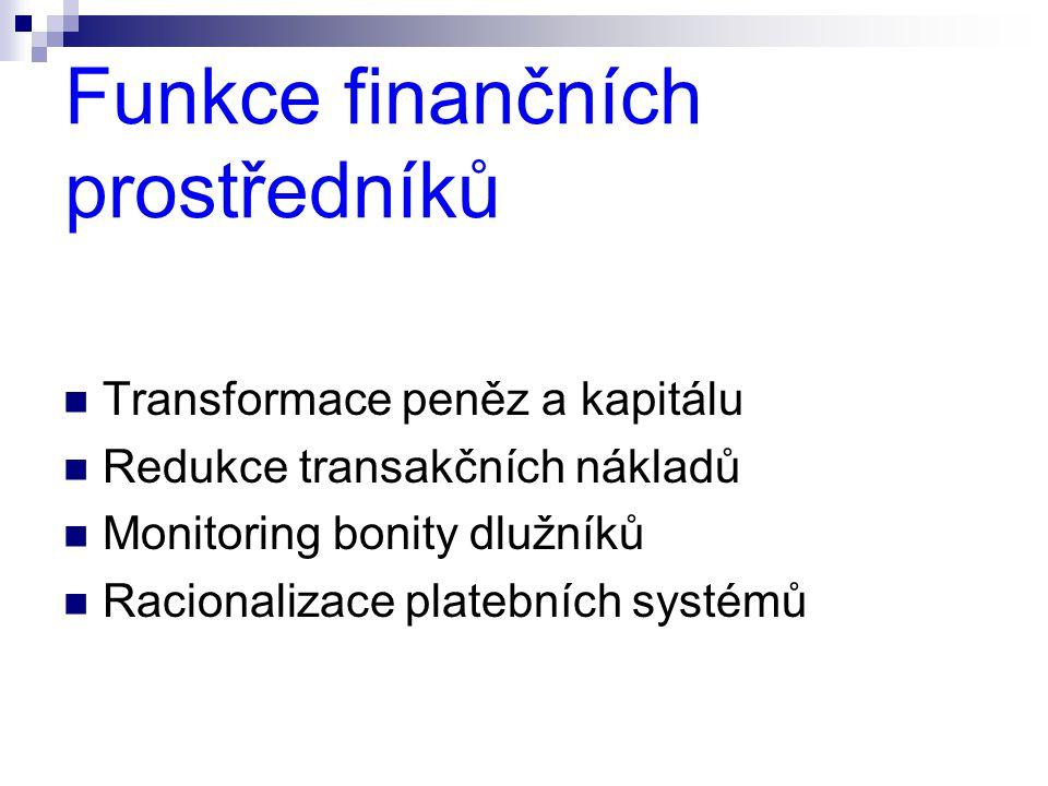 Funkce finančních prostředníků  Transformace peněz a kapitálu  Redukce transakčních nákladů  Monitoring bonity dlužníků  Racionalizace platebních