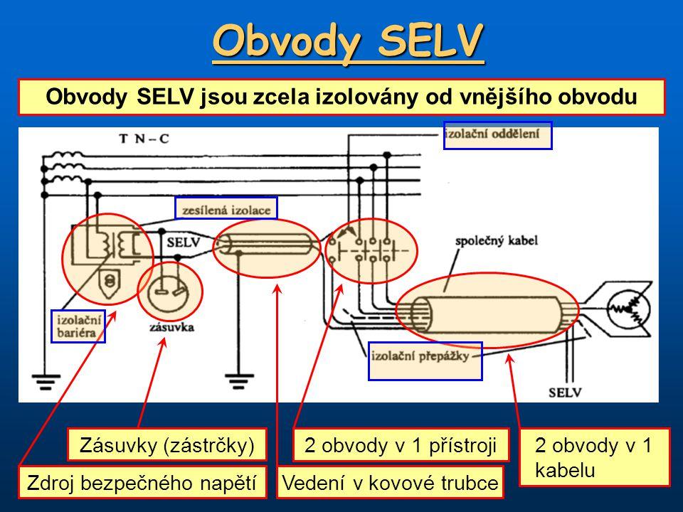 Obvody SELV Obvody SELV jsou zcela izolovány od vnějšího obvodu Zdroj bezpečného napětí Zásuvky (zástrčky) Vedení v kovové trubce 2 obvody v 1 přístro