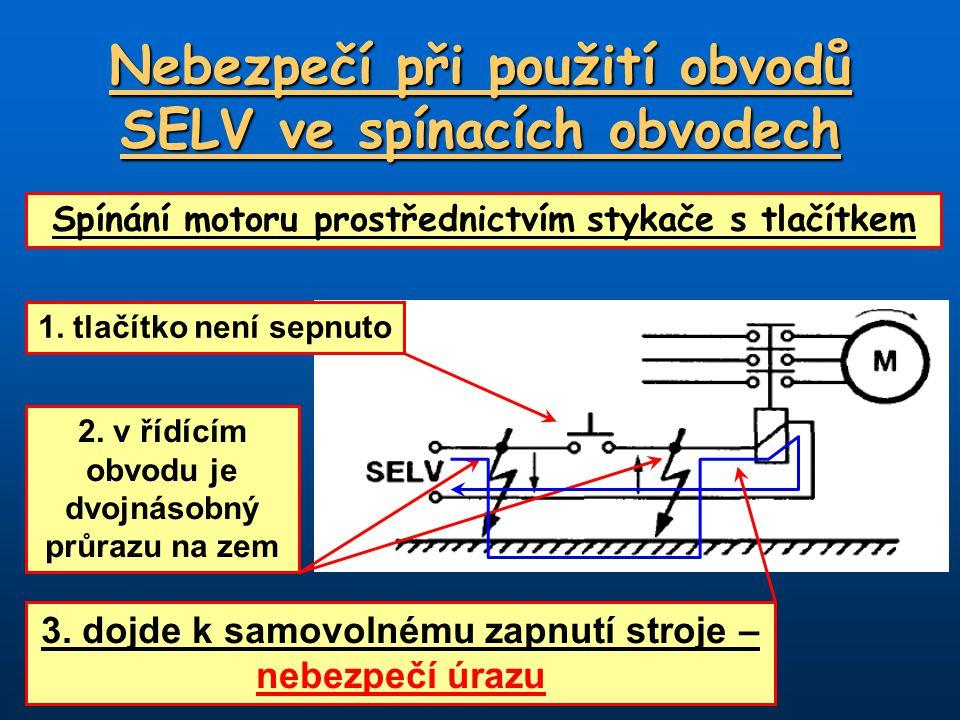 Nebezpečí při použití obvodů SELV ve spínacích obvodech Spínání motoru prostřednictvím stykače s tlačítkem 1. tlačítko není sepnuto 2. v řídícím obvod
