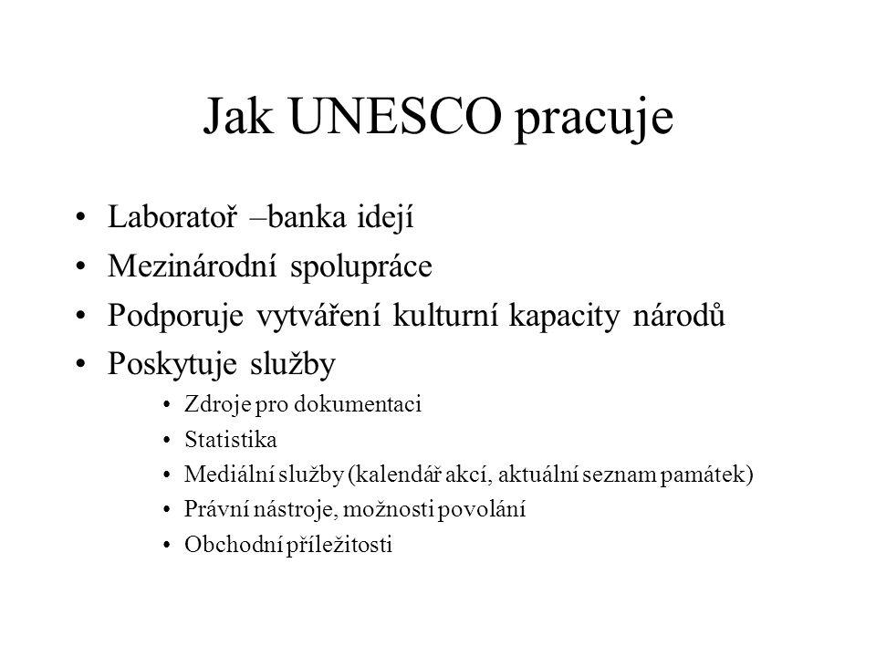 Jak UNESCO pracuje •Laboratoř –banka idejí •Mezinárodní spolupráce •Podporuje vytváření kulturní kapacity národů •Poskytuje služby •Zdroje pro dokumentaci •Statistika •Mediální služby (kalendář akcí, aktuální seznam památek) •Právní nástroje, možnosti povolání •Obchodní příležitosti