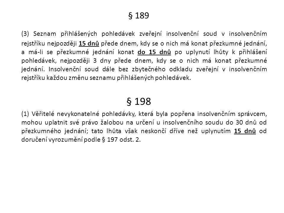 § 189 (3) Seznam přihlášených pohledávek zveřejní insolvenční soud v insolvenčním rejstříku nejpozději 15 dnů přede dnem, kdy se o nich má konat přezk