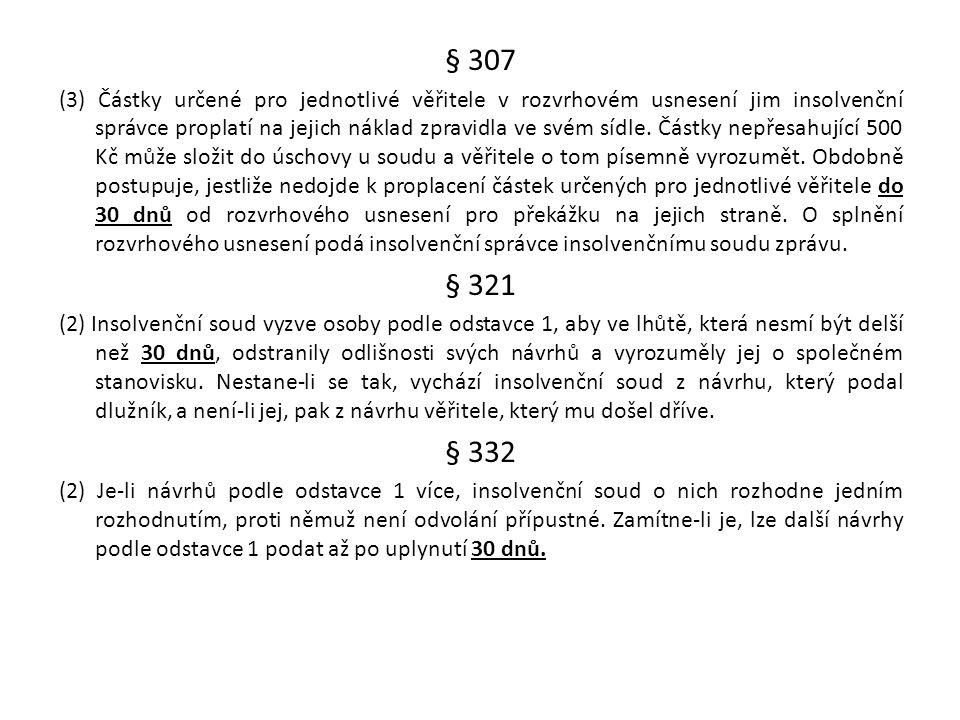 § 307 (3) Částky určené pro jednotlivé věřitele v rozvrhovém usnesení jim insolvenční správce proplatí na jejich náklad zpravidla ve svém sídle. Částk