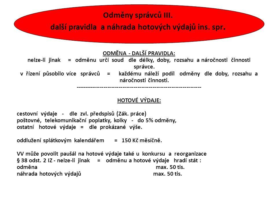 Odměny správců III. další pravidla a náhrada hotových výdajů ins. spr. ODMĚNA - DALŠÍ PRAVIDLA: nelze-li jinak = odměnu určí soud dle délky, doby, roz