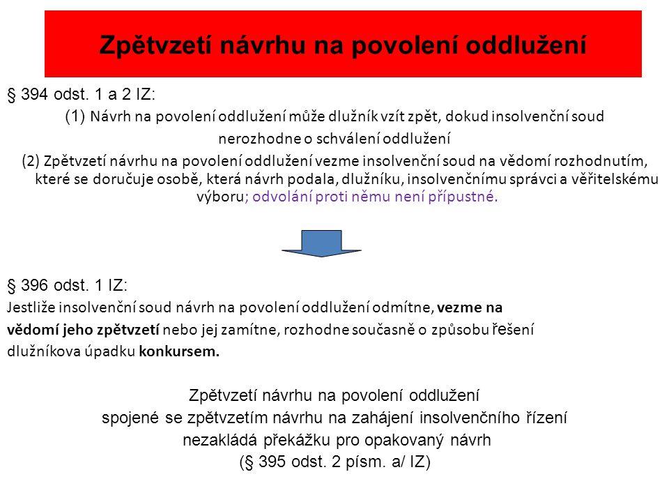Zpětvzetí návrhu na povolení oddlužení § 394 odst. 1 a 2 IZ: (1) Návrh na povolení oddlužení může dlužník vzít zpět, dokud insolvenční soud nerozhodne