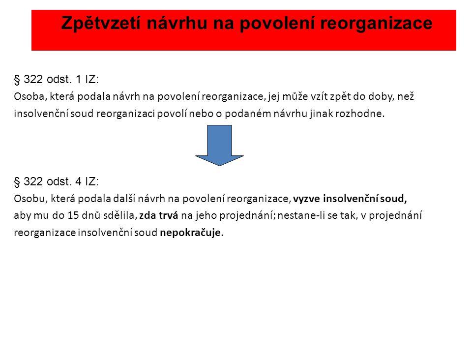Zpětvzetí návrhu na povolení reorganizace § 322 odst. 1 IZ: Osoba, která podala návrh na povolení reorganizace, jej může vzít zpět do doby, než insolv