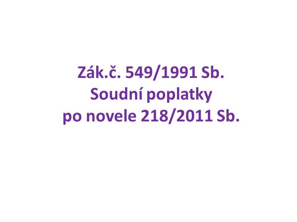 Zák.č. 549/1991 Sb. Soudní poplatky po novele 218/2011 Sb.